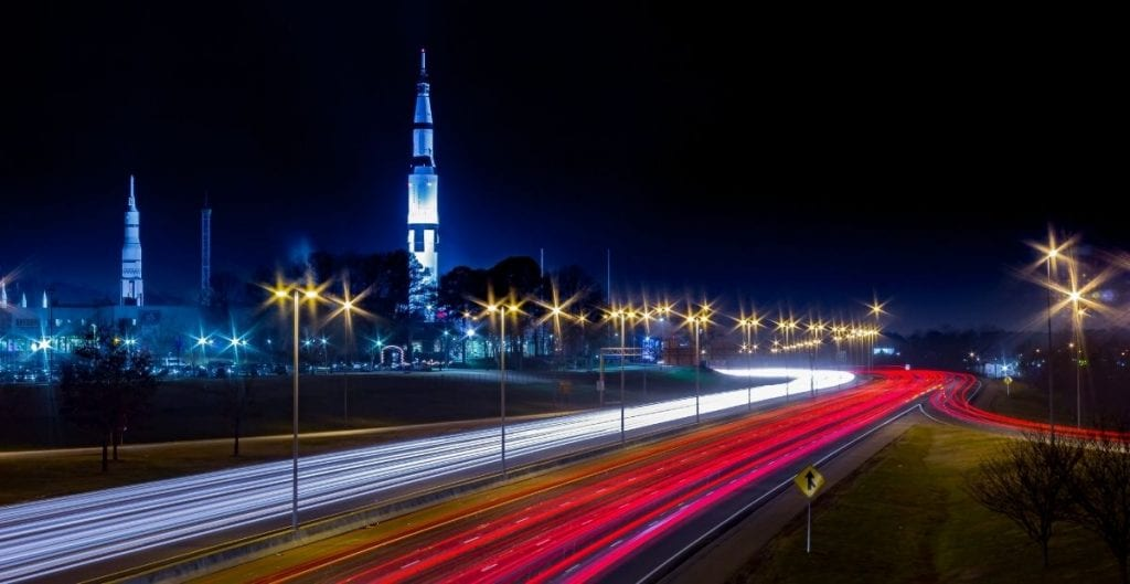 U.S. Space and Rocket Center and traffic at night Huntsville AL (Canva)
