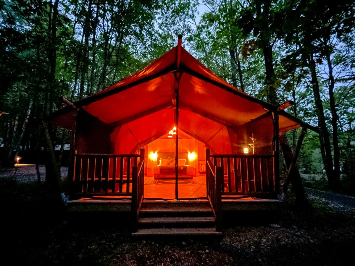 Terramor bayberry glamping tent light up at night