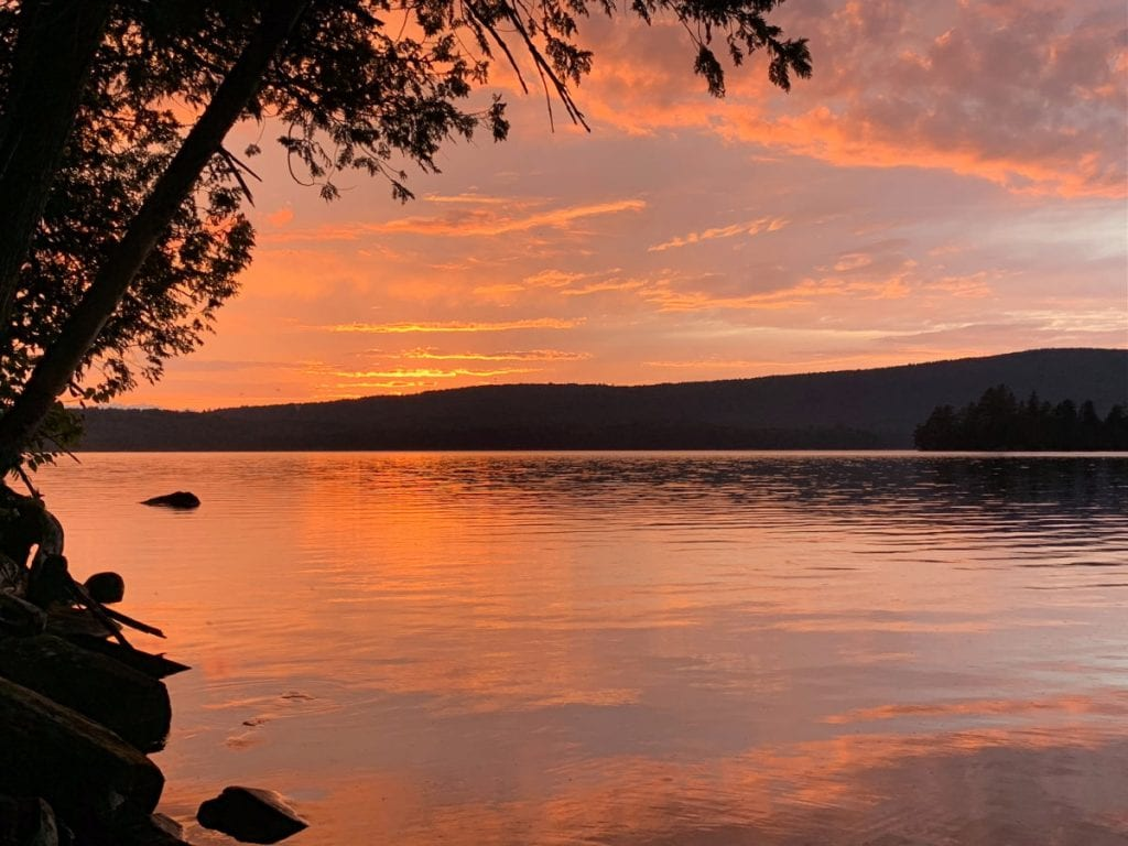 Sunset over Wilson Pond in Maine
