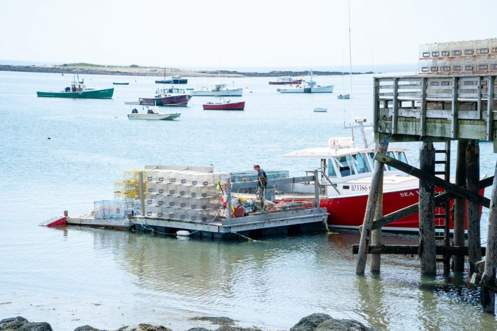 Cape Porpoise fishing pier and lobster boat