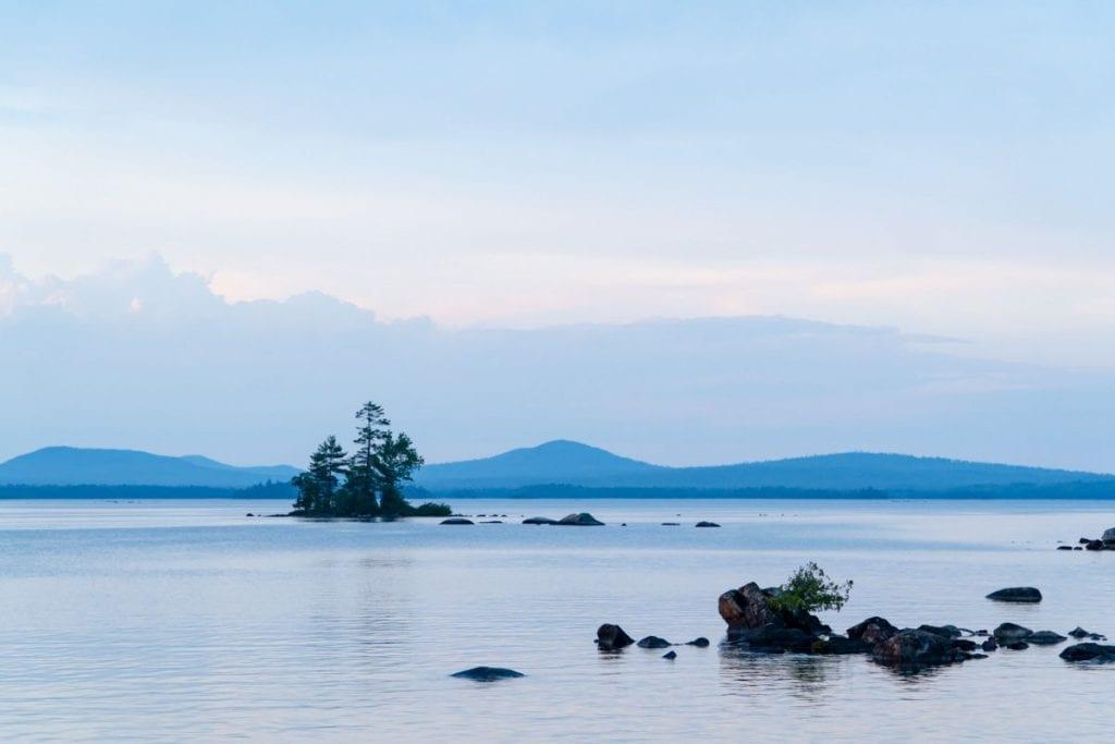 Islands and rocks in Millinocket Lake