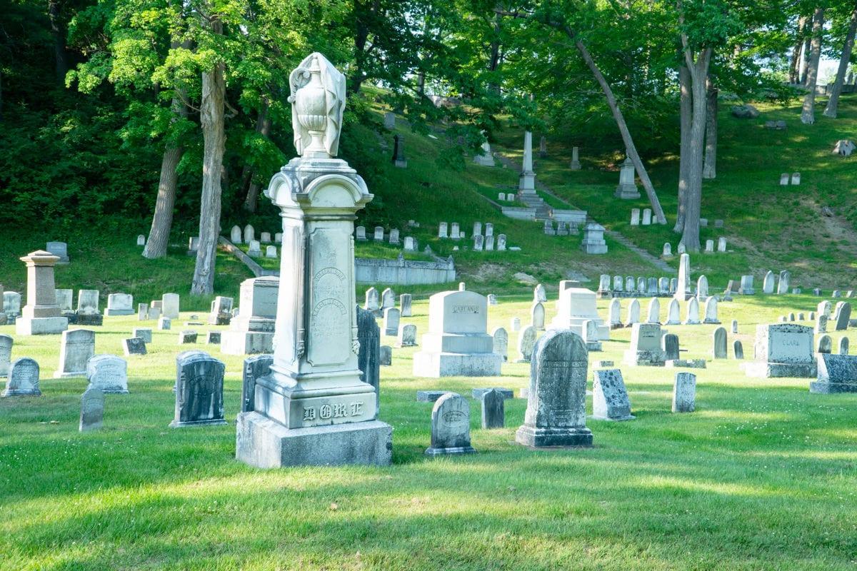 Gravestones at Mt Hope Cemetery in Bangor Maine