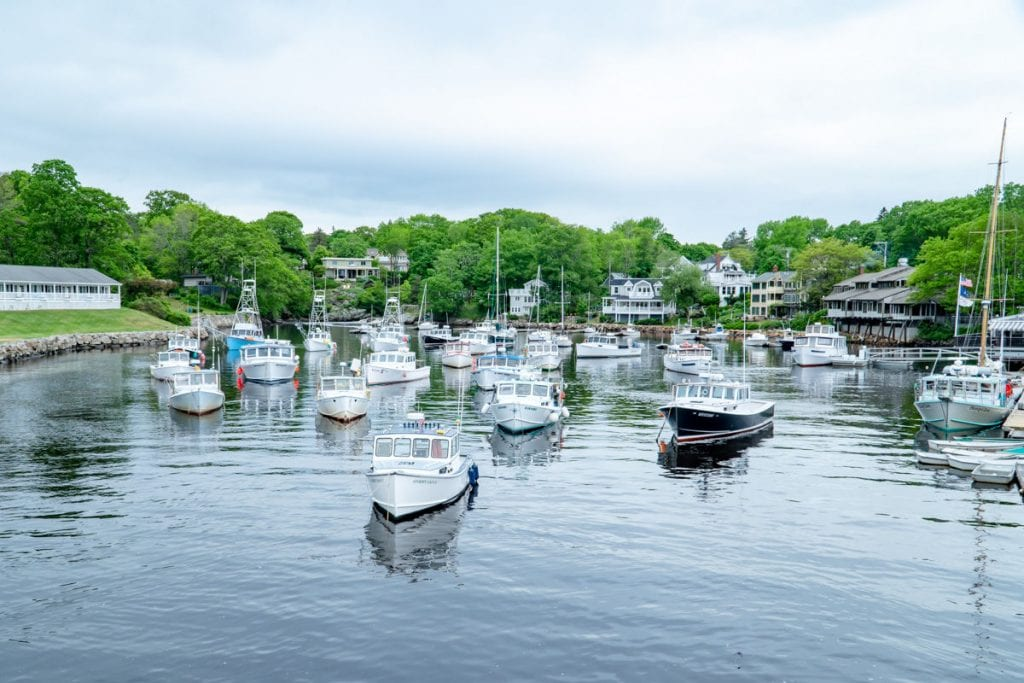 boats in the harbor in Perkins Cove in Ogunquit