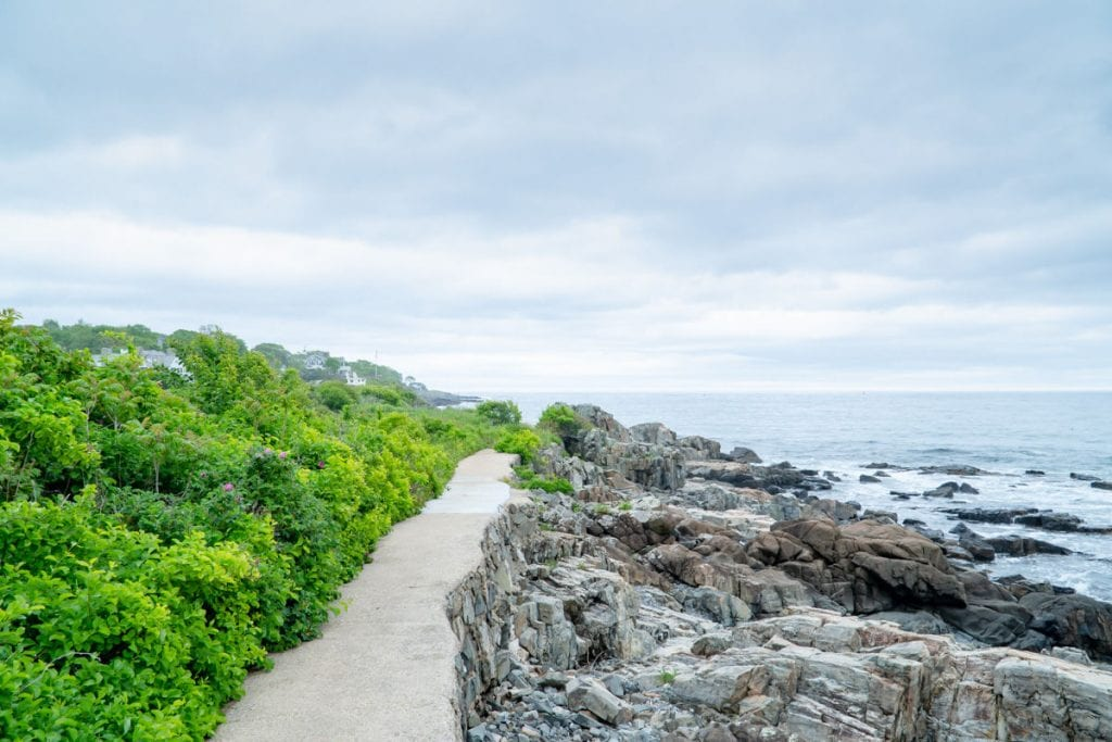 York Cliff Walk path along rocks