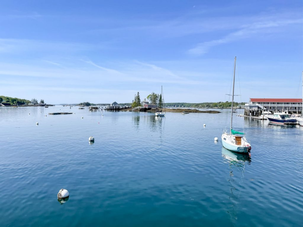 Boats on water and island in Boothbay Harbor Maine