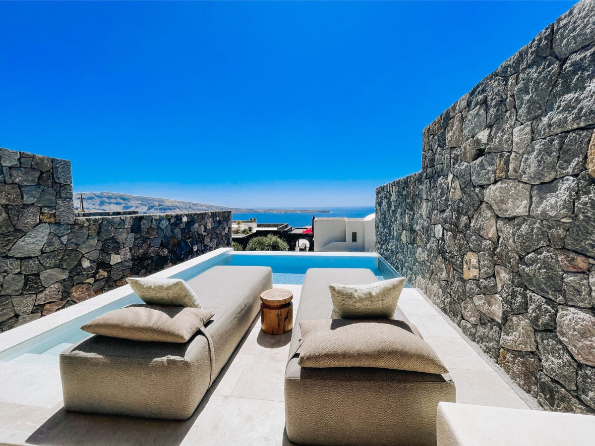 Private plunge pool for the honeymoon suite at the Canaves Oia Epitome