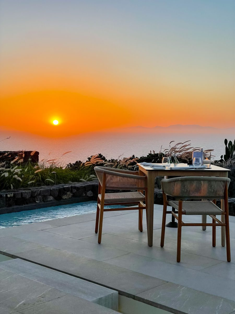 sunset and table at Elements Santorini