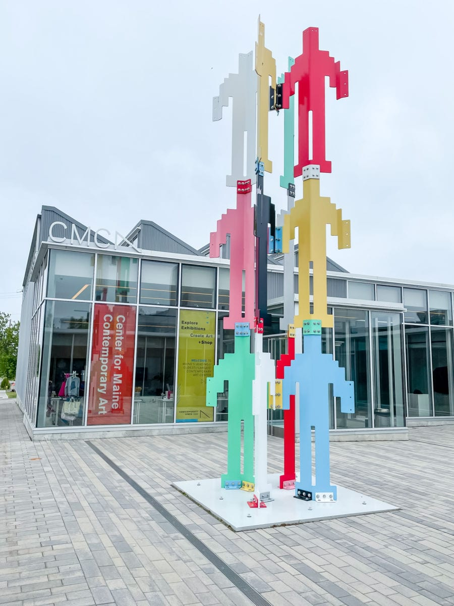 colorful sculpture outside of the Center for Maine Contemporary Art