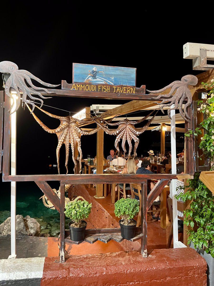 Octopus hanging under Ammoudi Fish Tavern sign