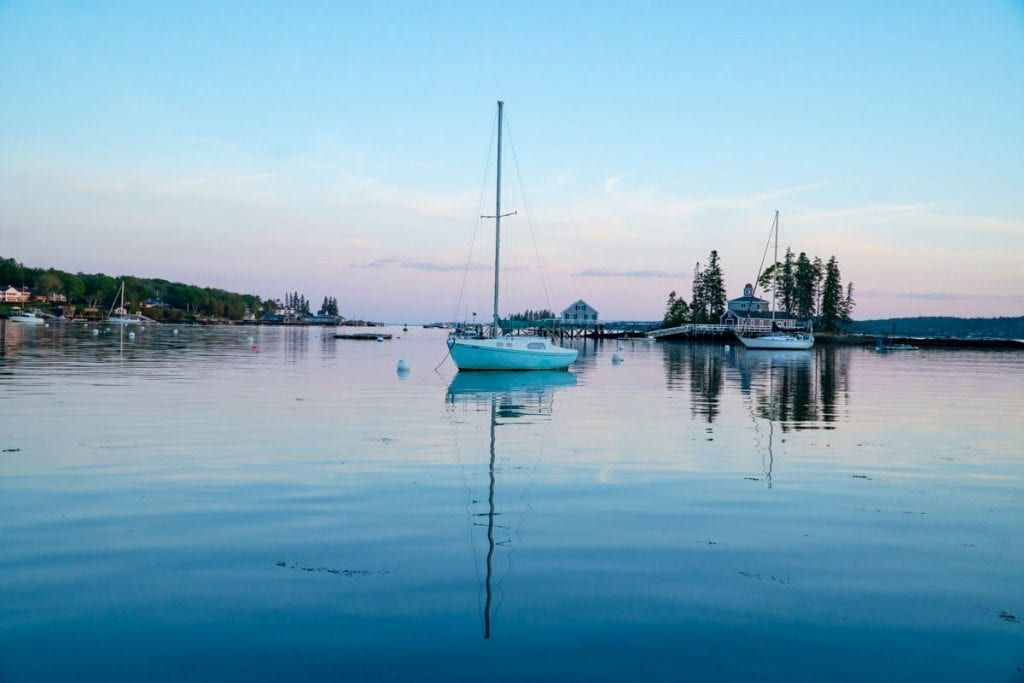 boat in Boothbay Harbor at sunset