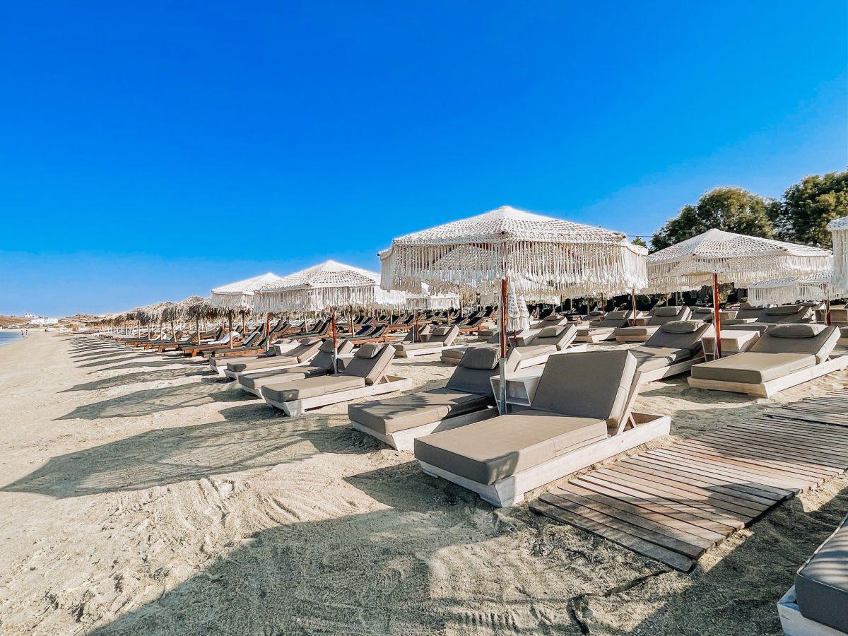 Beach chairs on Agios Prokopios beach