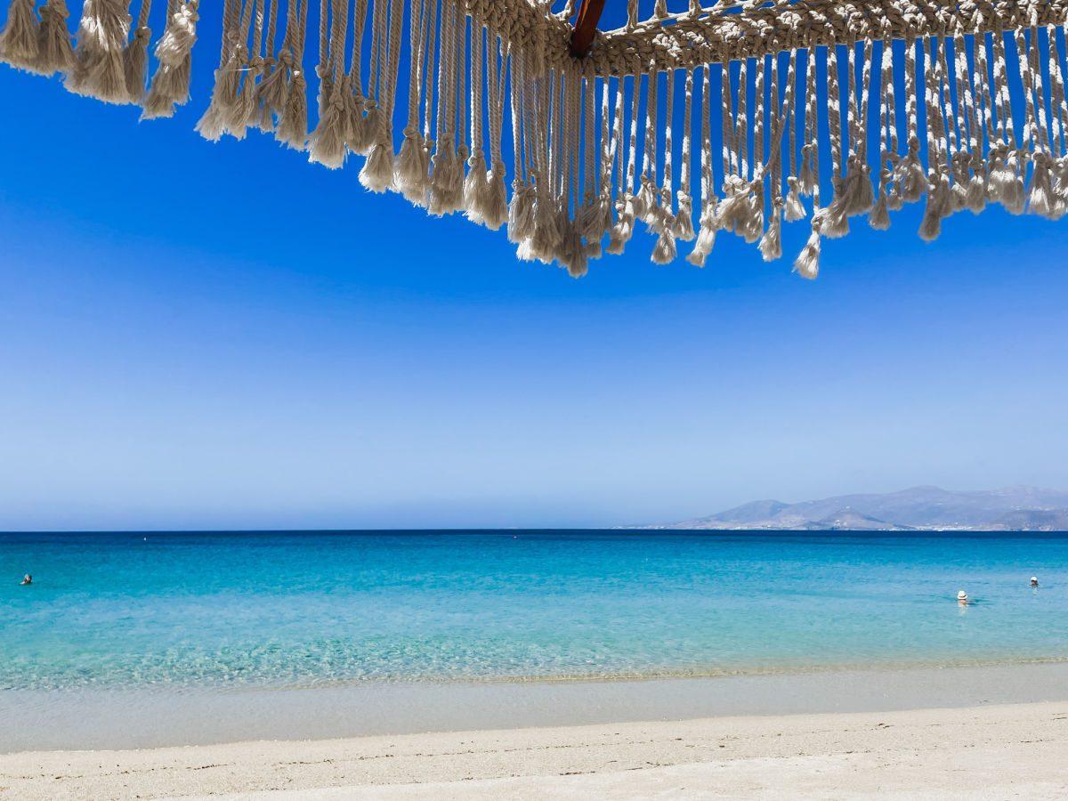 Agios Prokopios beach with Paros in the distance