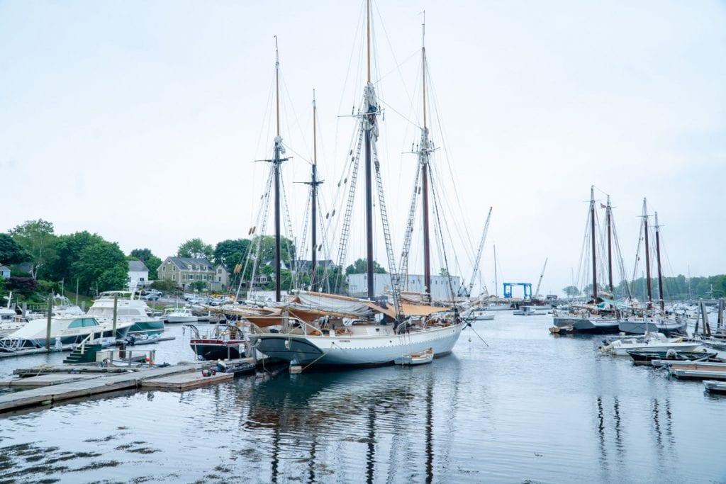 Maine Windjammers at dock in Camden Harbor