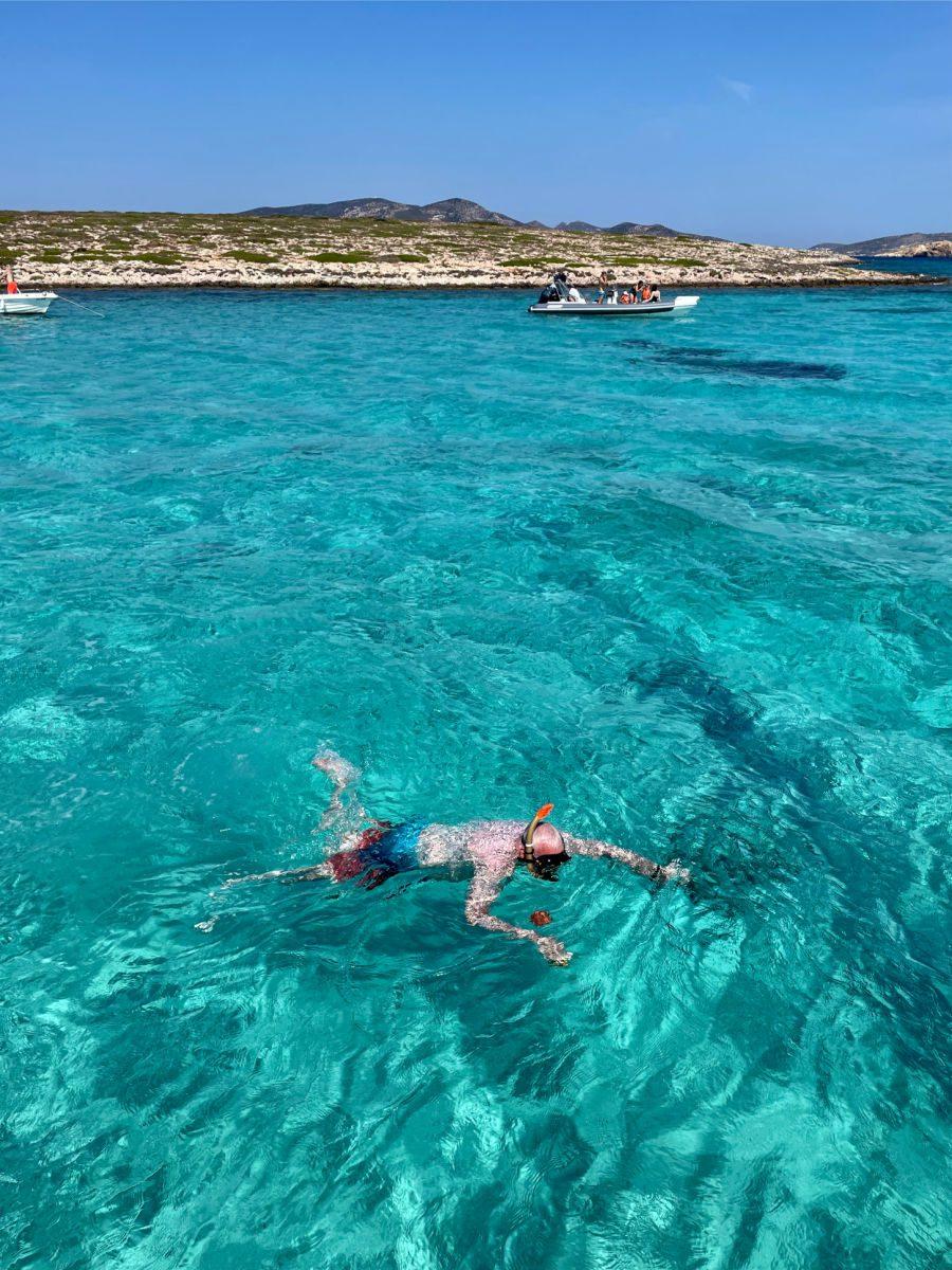 Man snorkeling off Antiparos