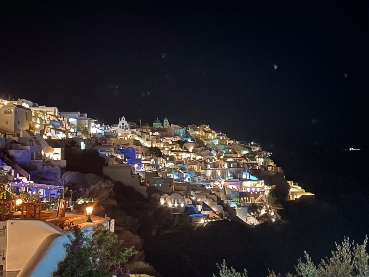 Oia town at night