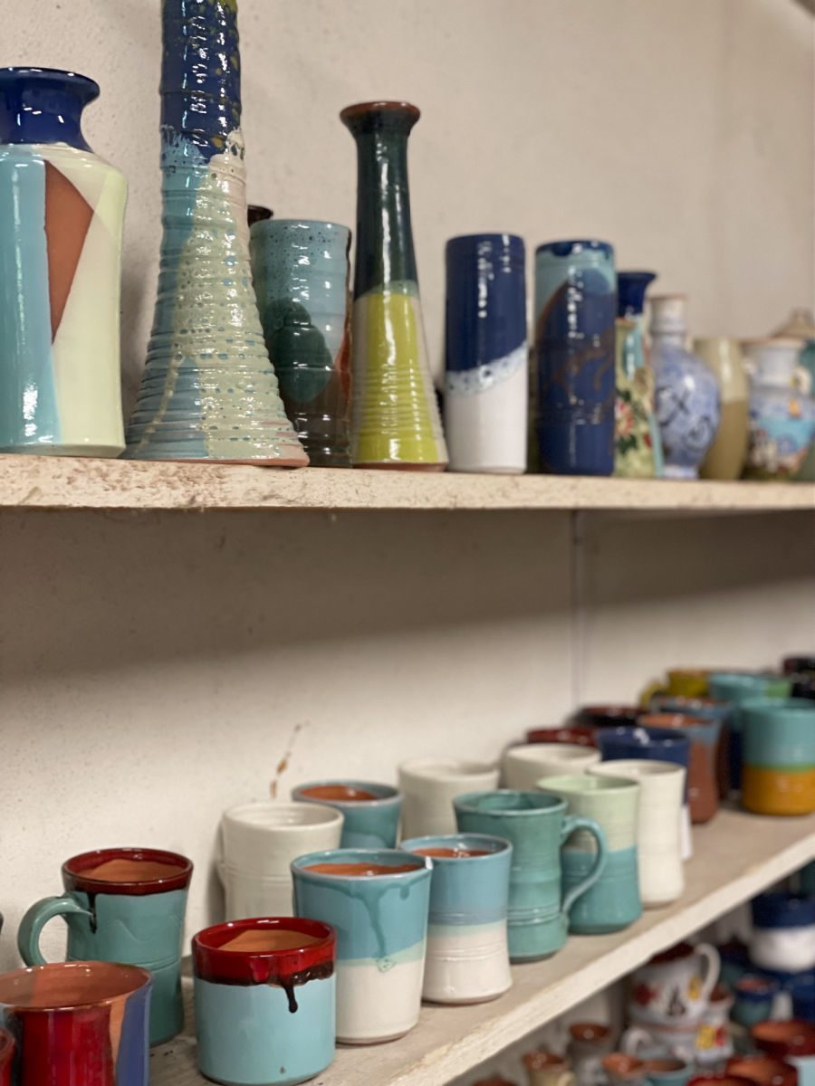 Pottery vases and cups
