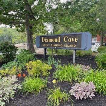 Diamond Cove on Great Diamond Island sign