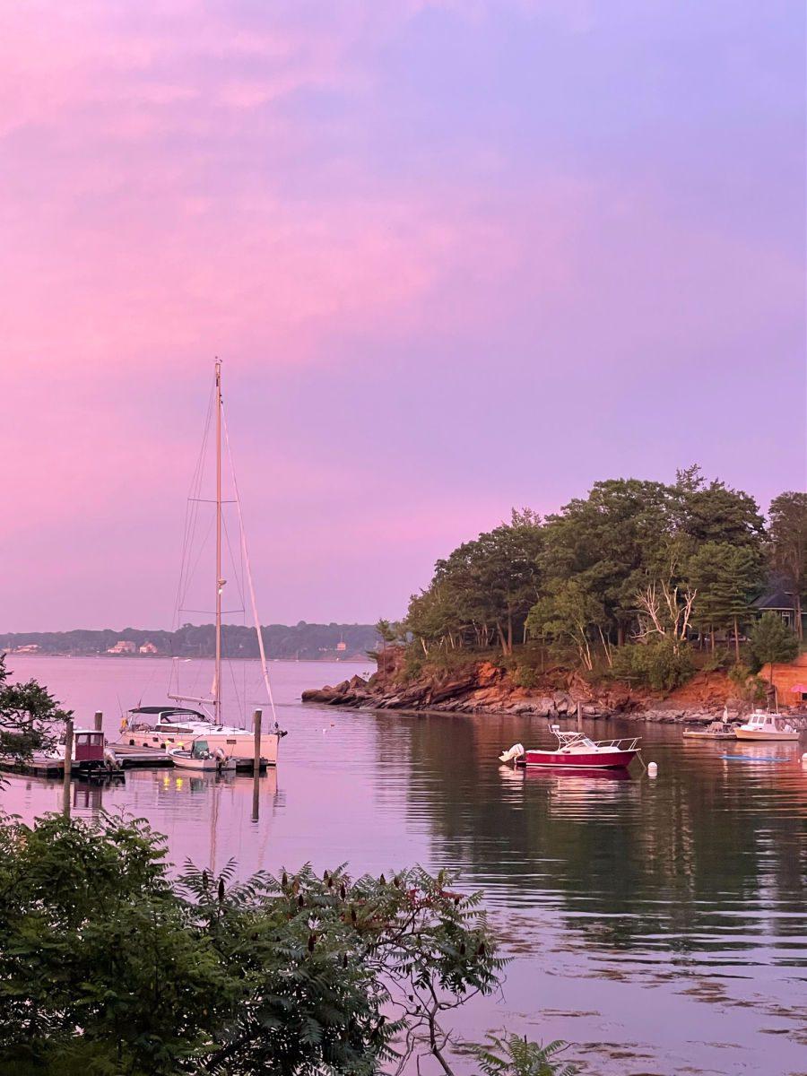 Diamond Cove marina at sunset