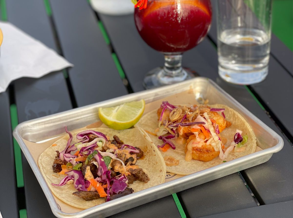 Shrimp and beef tacos from OZ tacos and tequilas