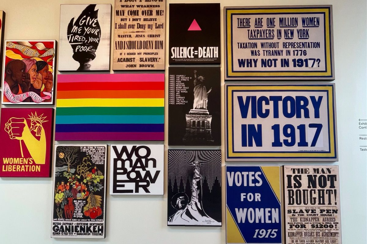 Wall of posters at the New York State Equal Rights Heritage Center