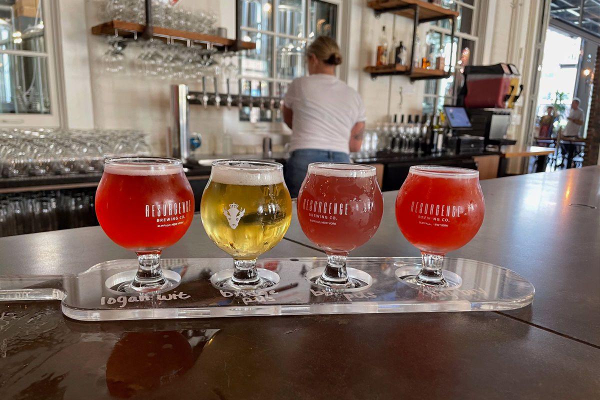 Beer flight at Resurgence Brewing