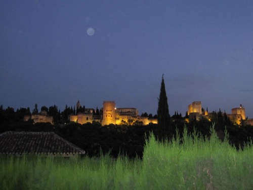View of the Alhambra at night | Visiting the Alhambra with Kids via We3Travel.com