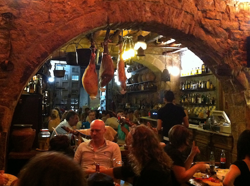 Jamons Hanging at Bodega la Tinaja in Barcelona | Tip for Preparing for Vacation with Kids