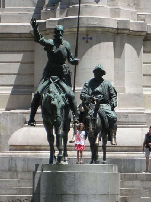 Posing with Don Quixote from Tips for Preparing for Vacation with Kids