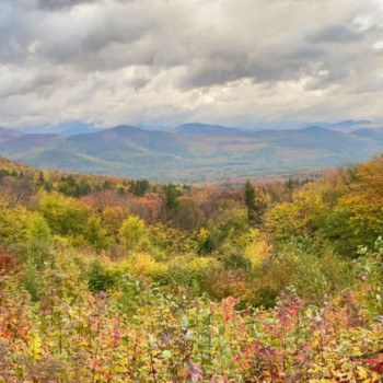 Fall foliage at Bear Notch Road overlook in the White Mountain National Forest