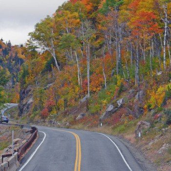 Fall New York road trip - road through mountains by river with fall colors on trees