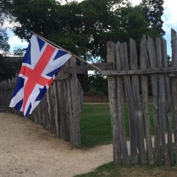 Historic Jamestowne fort fence and flag