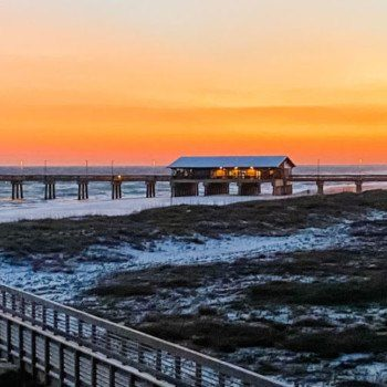 Gulf State Park pier at sunset