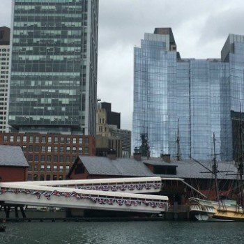 Boston Tea Party Ships and Museum on the Boston Skyline