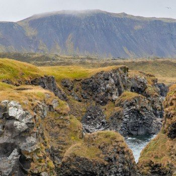 Arnarstapi rocks and white house on green grass in Iceland