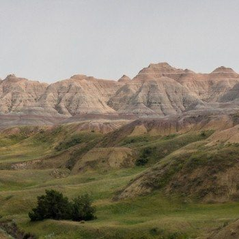 Badlands yellow mounds valley