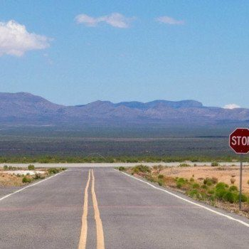 New Mexico road and stop sign