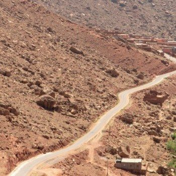 driving in Morocco through the mountains